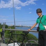 Janet snaps a pic of me, the bike Martin Heath made for me, and Toronto (on the Humber River bridge)