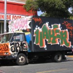 "This colorful graffiti-covered truck would be a white ""canvas"" or logo-pasted ad otherwise. When thinking of the potential for a space to hold art, this mobile object is a logical choice."