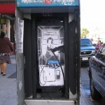 A great example of humor with stencil graffiti, someone put the phone back in the phonebooth. Placement is one of the foundations of street art, and this well-placed stencil on paper gets high marks.