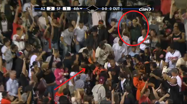 Sept. 28: Uribe's 4th inning HR lands right in front of me! Giants go 2 games up for Div. lead.