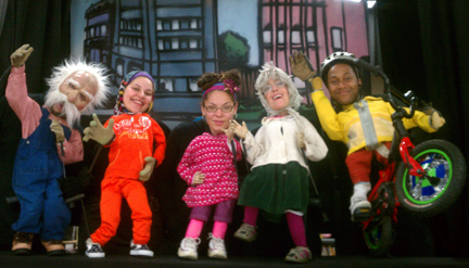 The 2012 Big Tadoo Puppet Crew Safe Routes cast.